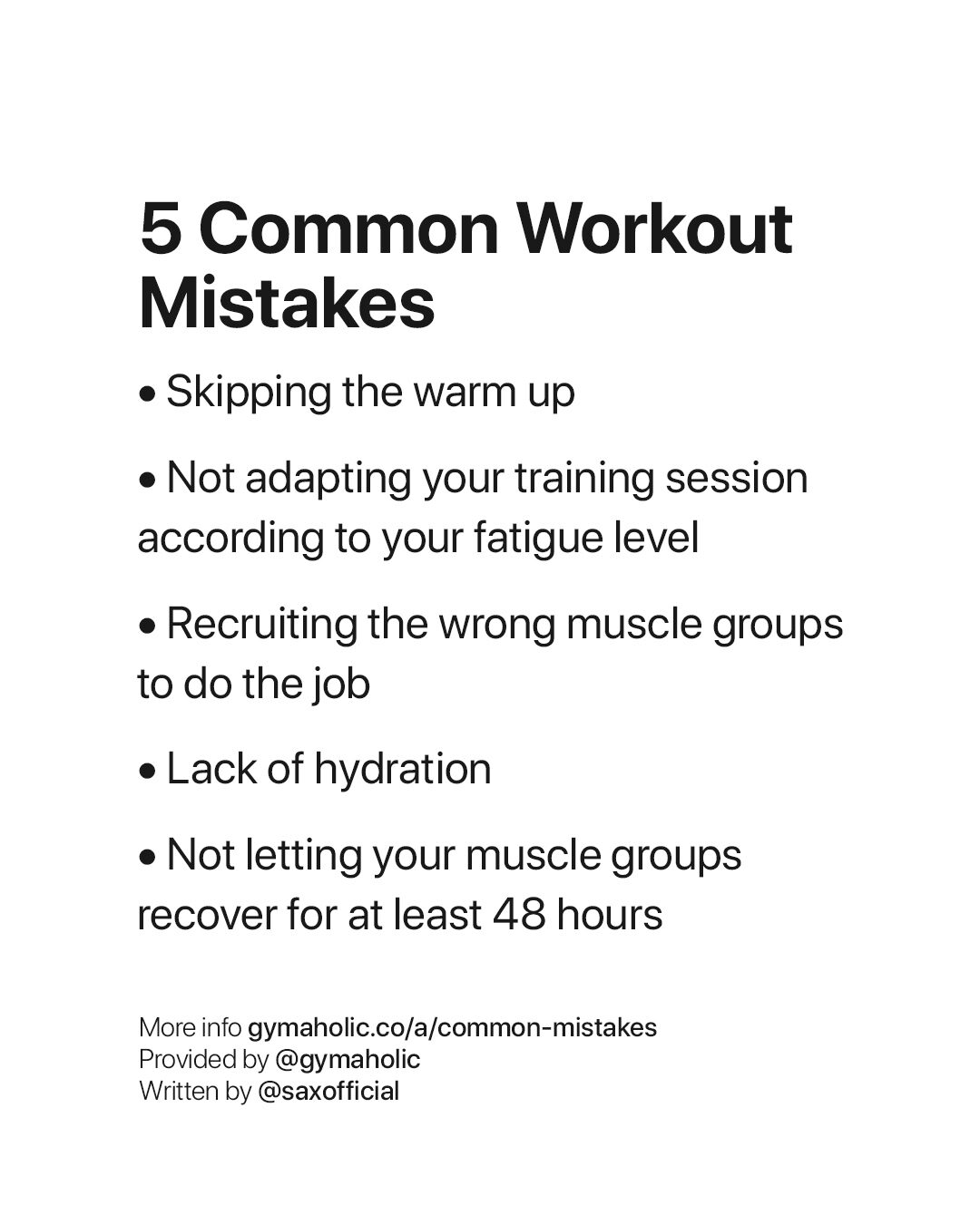 Common Workout Mistakes Fact