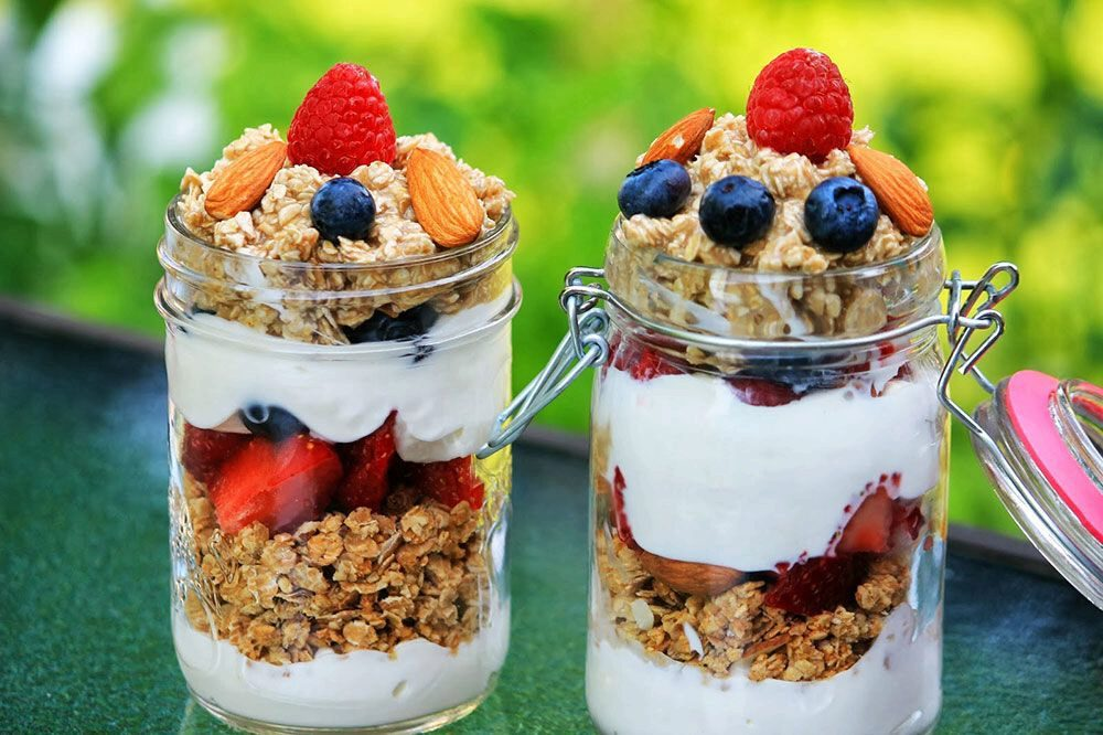 Greek yogurt with fruits and nuts