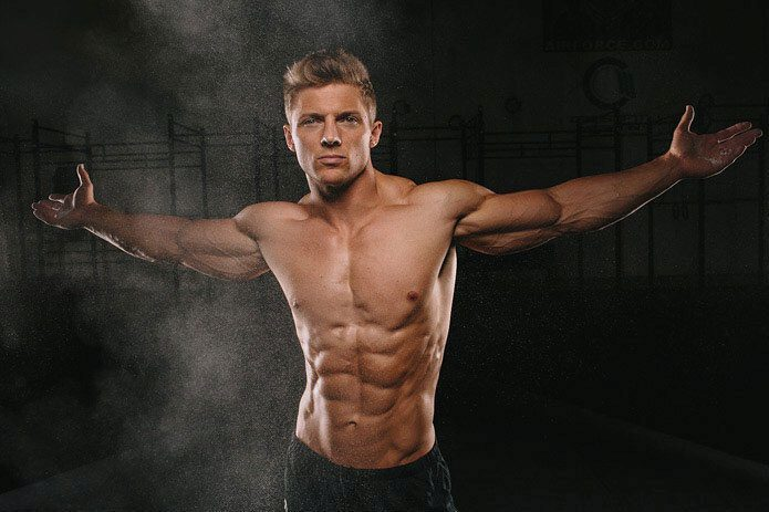 Steve Cook showing his amazing body to the camera.