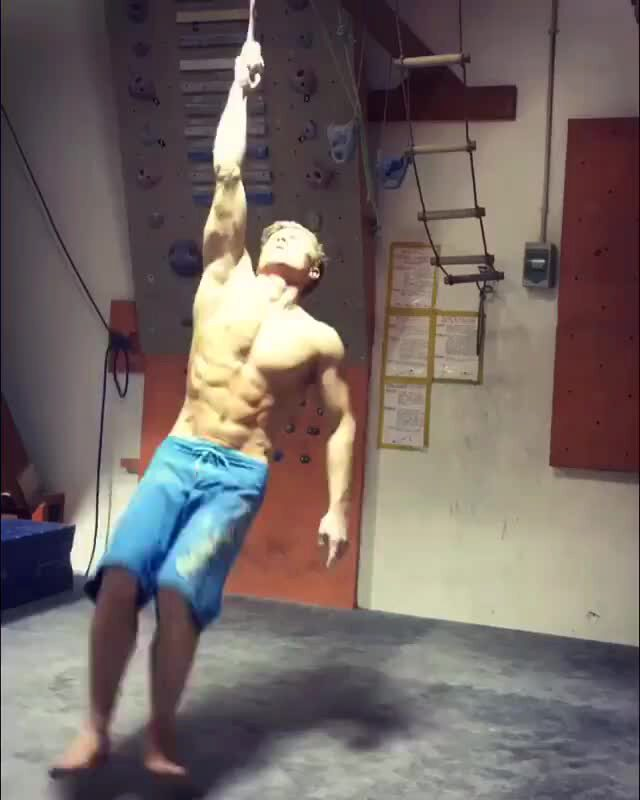 He Is Using One Finger To Perform His Workout