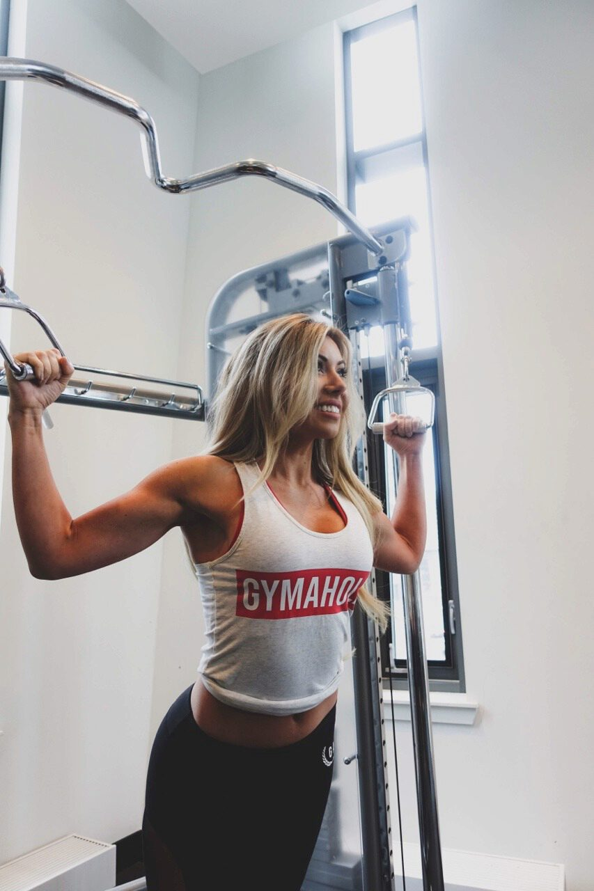 Strong is the new sexy. Lauren wearing the Gymaholic Stringer and Leggings.